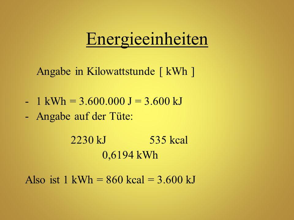 Energieeinheiten Angabe in Kilowattstunde [ kWh ]